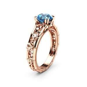 Blue Diamond Engagement Ring Rose Gold Solitaire Ring Unique Ring Miligrain Ring Anniversary Gift