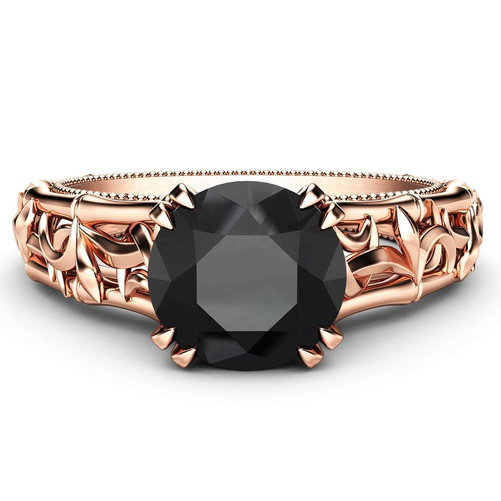 Black Diamond Engagement Ring Rose Gold Solitaire Ring Unique Ring Miligrain Ring Anniversary Gift