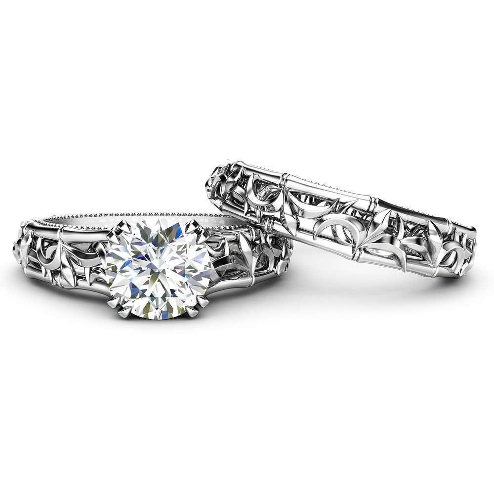 Unique Engagement Ring Set White Gold Solitaire Rings Unique Wedding Set Miligrain Ring Set