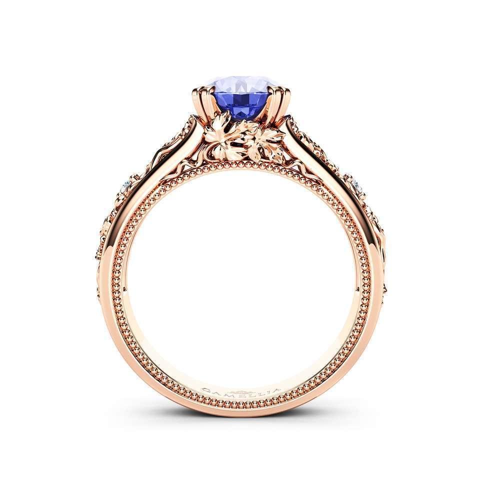 Unique Tanzanite Engagement Ring 14K Rose Gold Ring Grape Leaves Engagement Ring