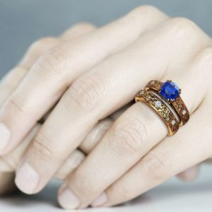 Blue Sapphire Engagement Ring Set 14K Solid Gold Leaf Engagement Ring with Matching Band Grape Leaves Wedding Ring Set