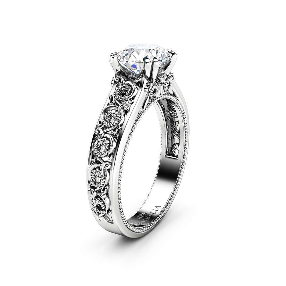 Unique Moissanite Engagement Ring 14K White Gold Ring Twisted Leaves Engagement Ring
