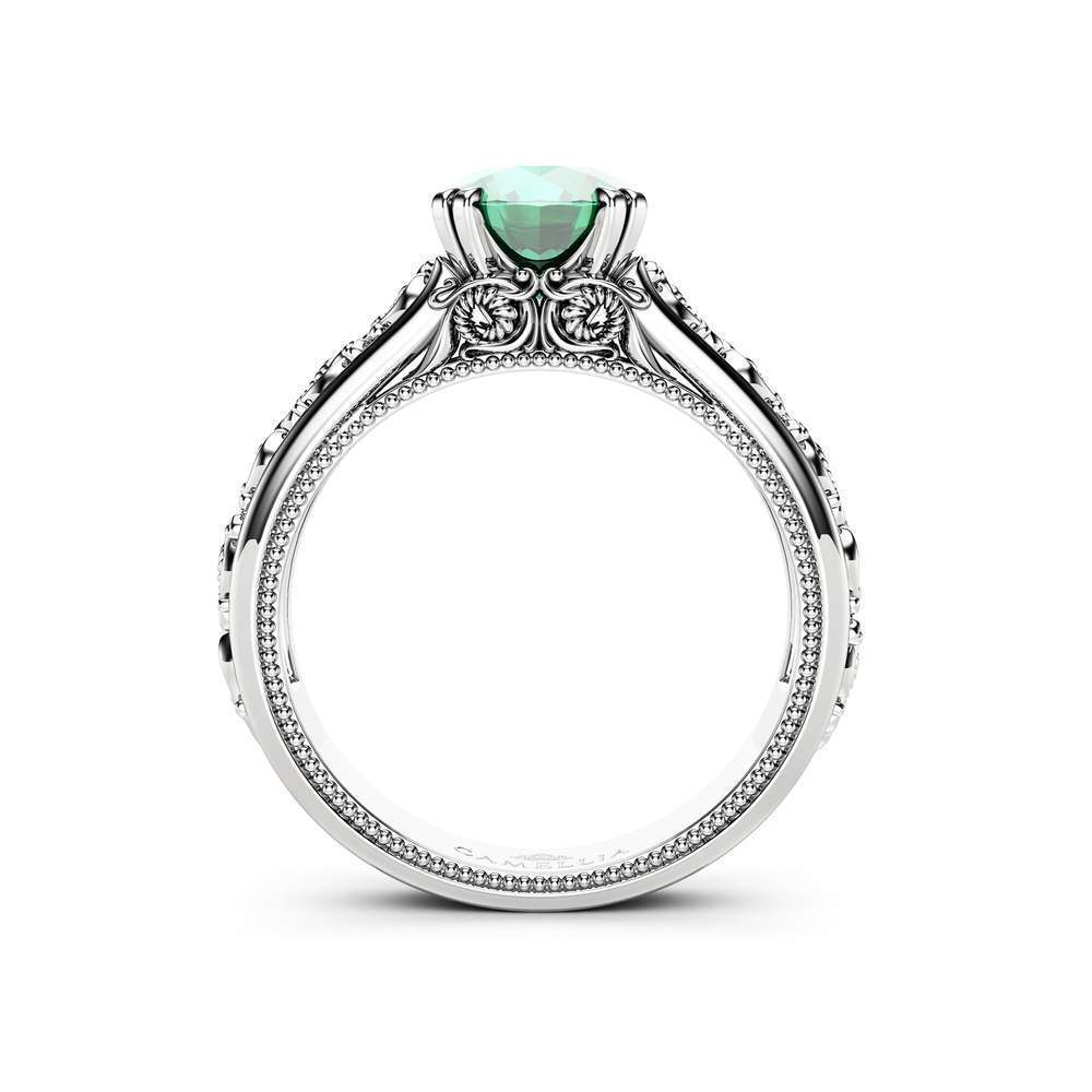 Unique Emerald Engagement Ring 14K White Gold Ring Twisted Leaves Engagement Ring