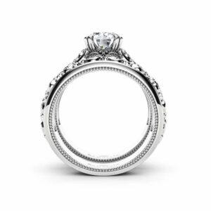 Unique Engagement Ring Set 14K White Gold Solitaire Rings Unique Wedding Set Miligrain Ring Set
