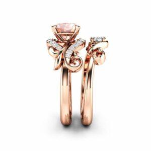Morganite Engagement Ring Set Unique 14K Rose Gold Wedding Ring Set Peach Pink Gemstone Ring Set