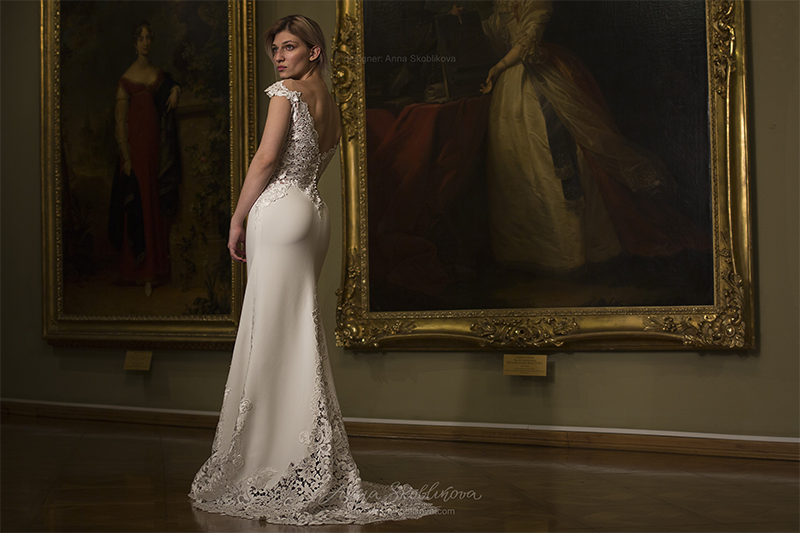 bare back floral wedding dress