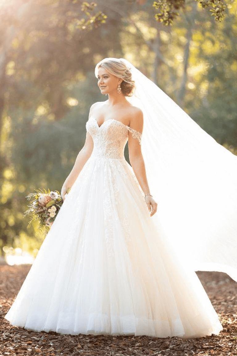 off the shoulders wedding dress