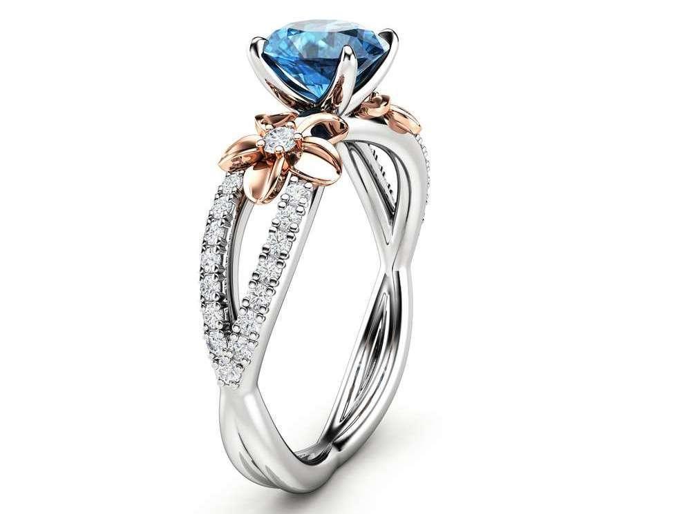 14k White Gold Blue Diamond Engagement Ring
