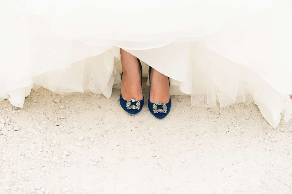 photo by james bold blue wedding shoes