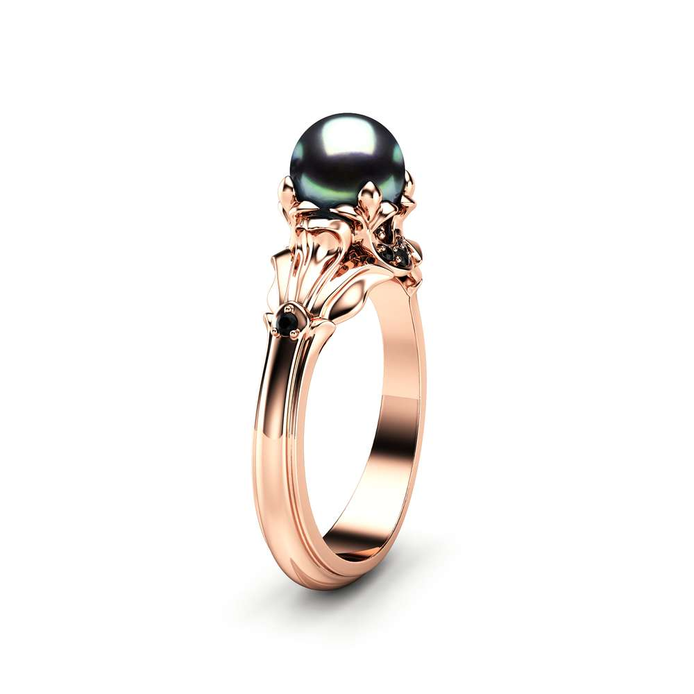 black pearl engagement ring camellia jewelry