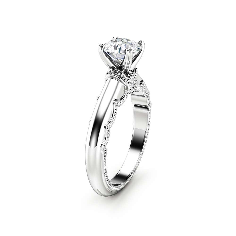 white gold moissanite ring