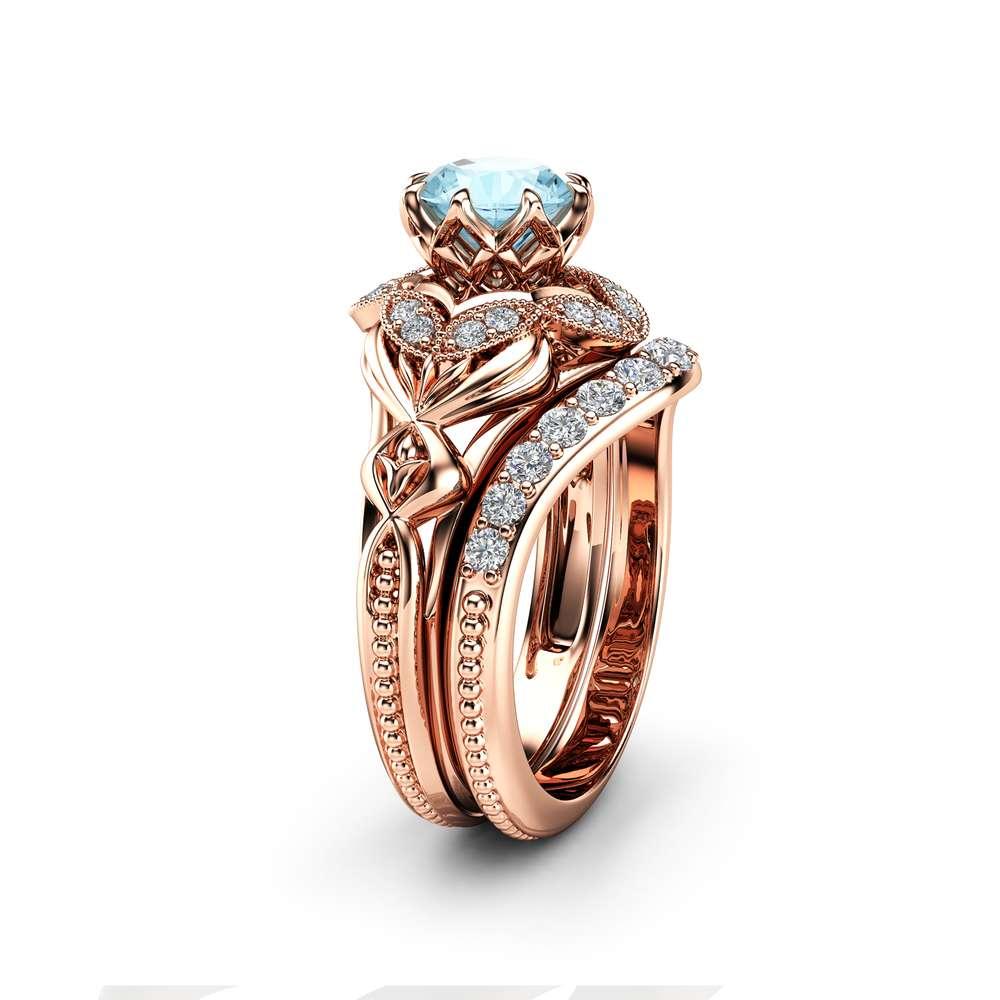 rose gold aquamarine engagement ring set