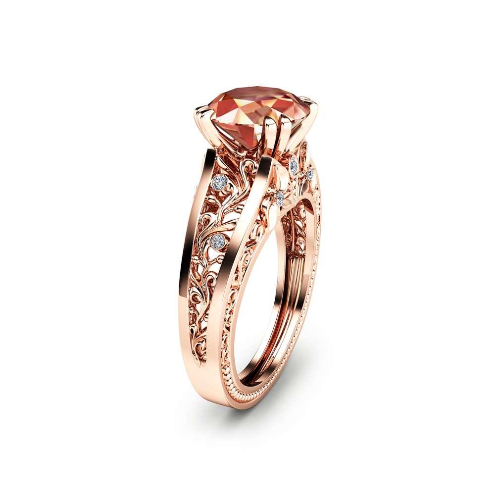 camellia jewelry rose gold morganite ring