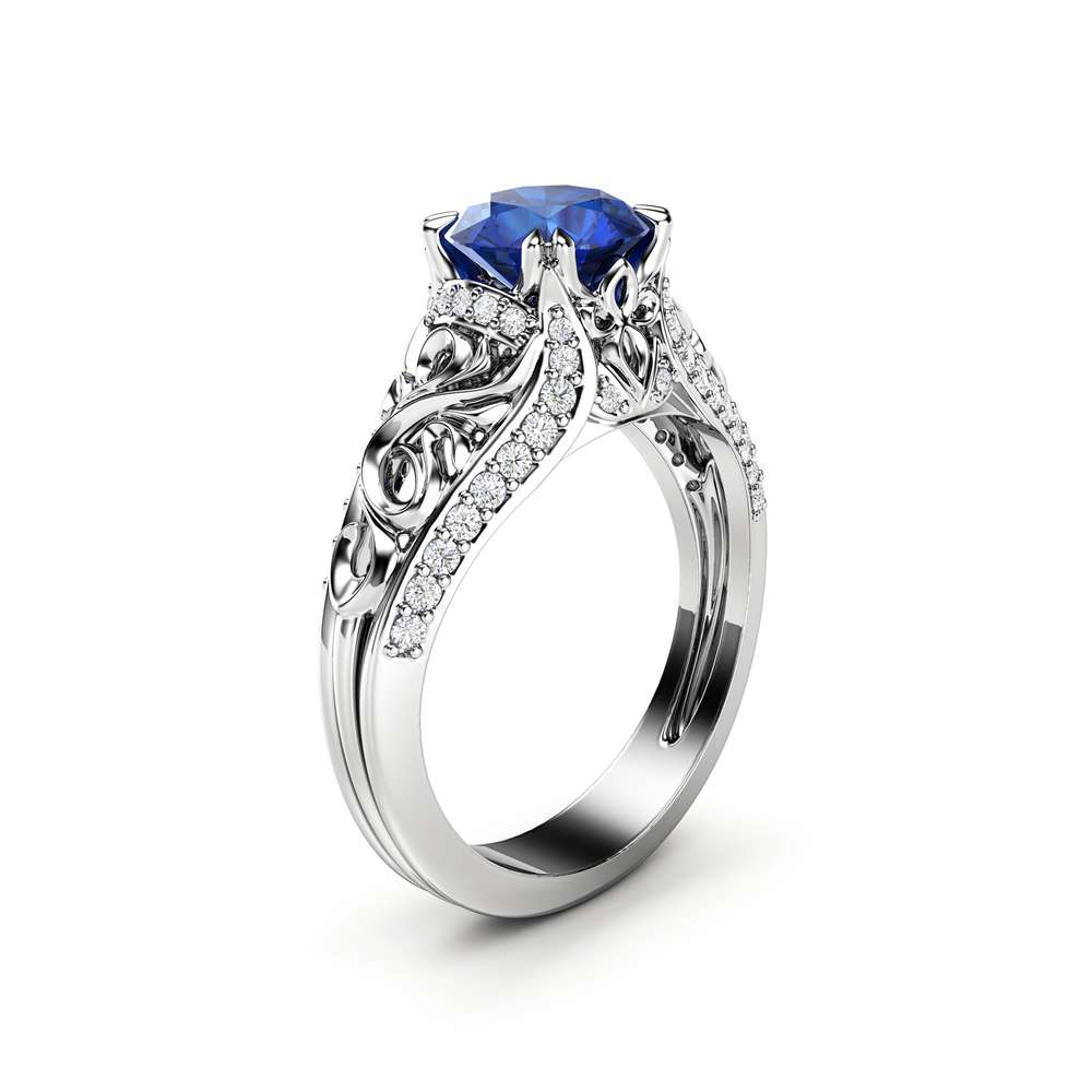 blue sapphire white gold engagement ring