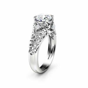 Handmade Moissanite Engagement Ring 14K White Gold Moissanite Ring Forever One Round Cut Engagement Ring