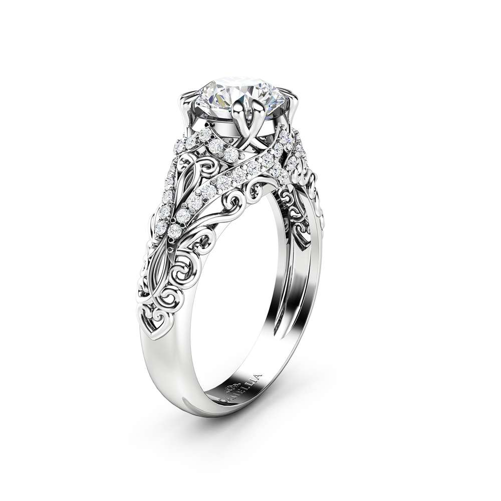 Moissanite Engagement Ring Forever One Moissanite wedding ring 14K White Gold Band