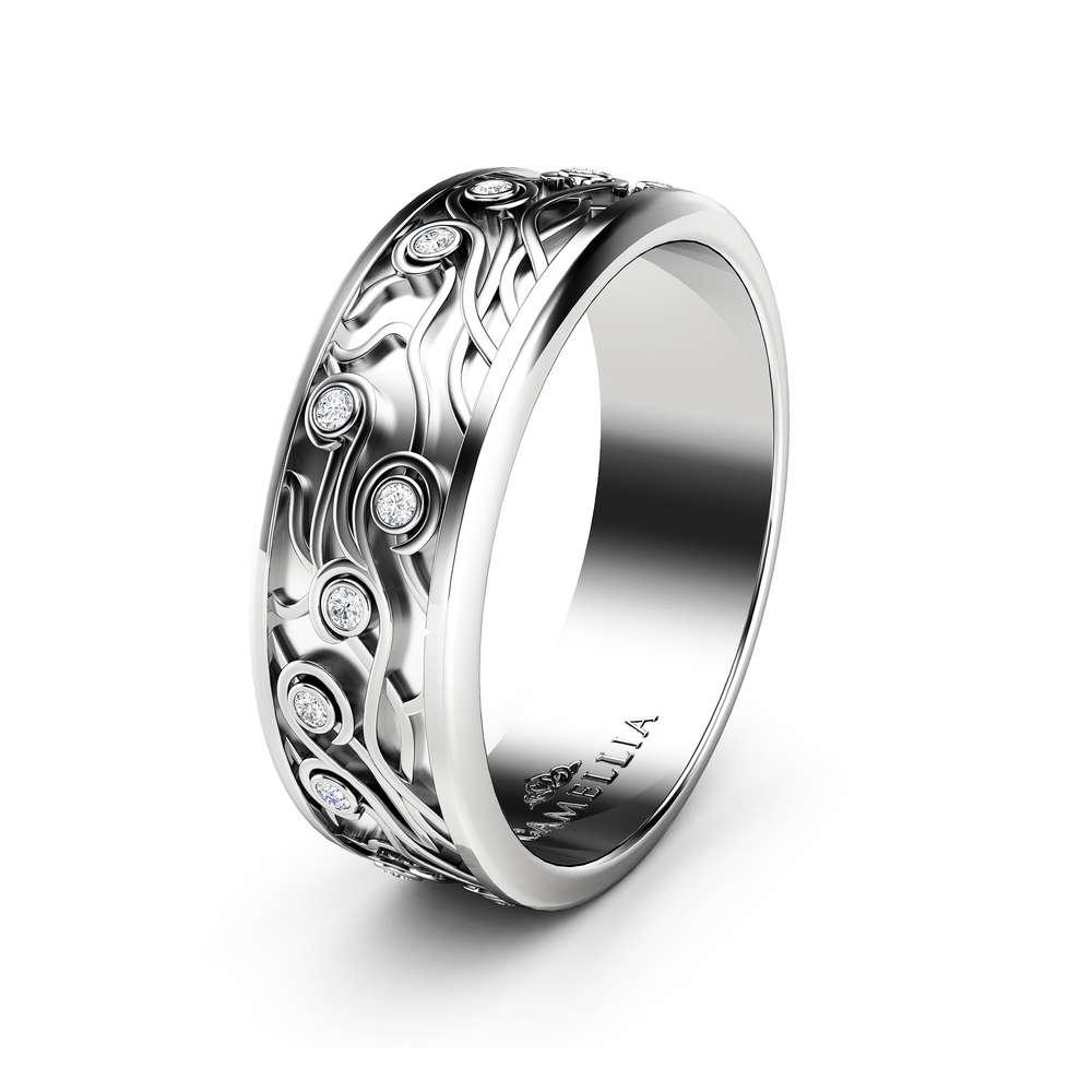 14K White Gold Womens Wedding Band Women Celtic Ring Natural Diamonds Wedding Band