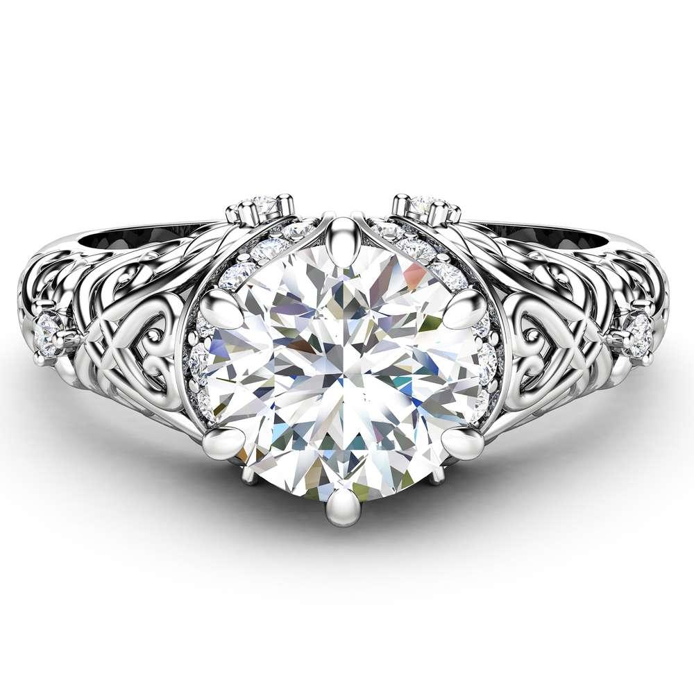 Moissanite & Natural Diamonds Engagement Ring 14K White Gold Moissanite Ring Forever One 1 Carat Engagement Ring
