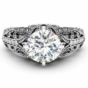 Filigree Art Deco Moissanite Engagement Ring Moissanite Wedding Rings 14K White Ring