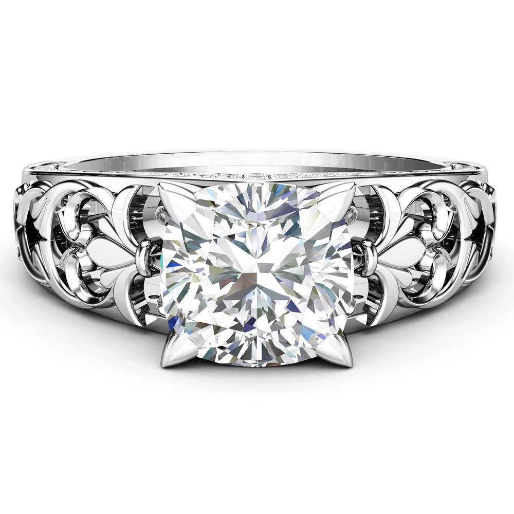 Unique Engagement Ring Cushion 7mm Moissanite Ring 14K White Gold Band with Natural Side Diamonds