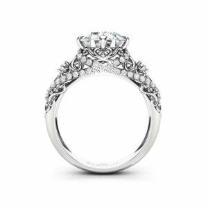 2 Carat Moissanite Engagement Ring Unique Wedding Ring 14K White Gold Ring Art Nouveau Engagement Ring