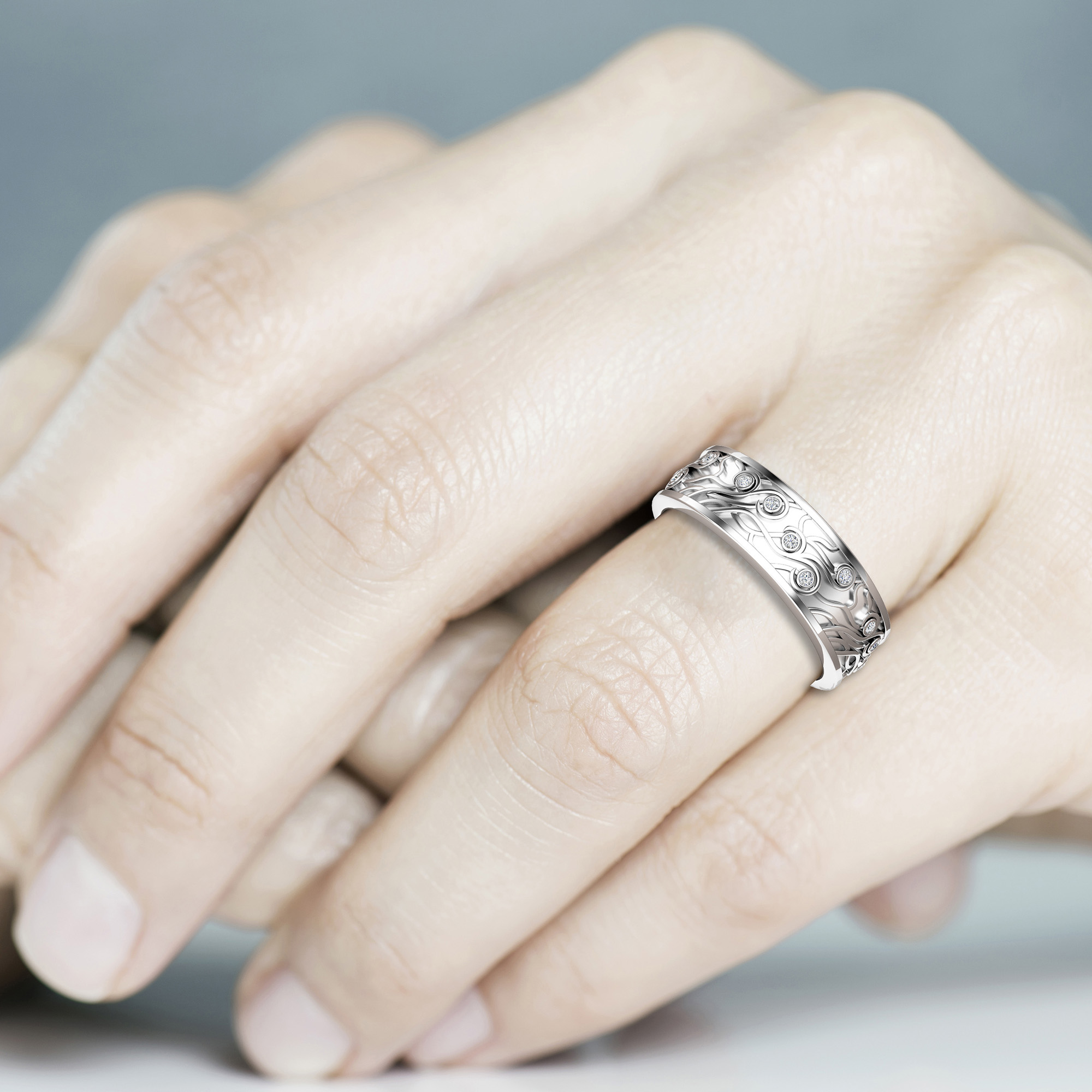 Wedding Band His And Hers-14K White Gold Wedding Rings-Couples Matching Band Set