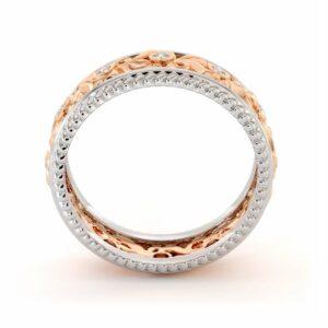 Vintage Wedding Band-Women's Wedding Band Rose & White Gold-14K Two Tone Wedding Ring