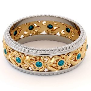 Vintage Wedding Band-Women's Wedding Band Yellow & White Gold-14K Two Tone Wedding Ring
