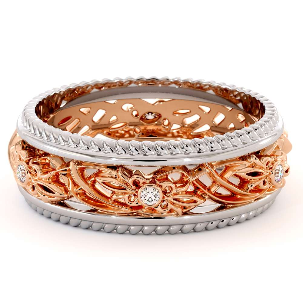 Art Deco Wedding Band Women Wedding Ring Two Tone Diamond Wedding Band