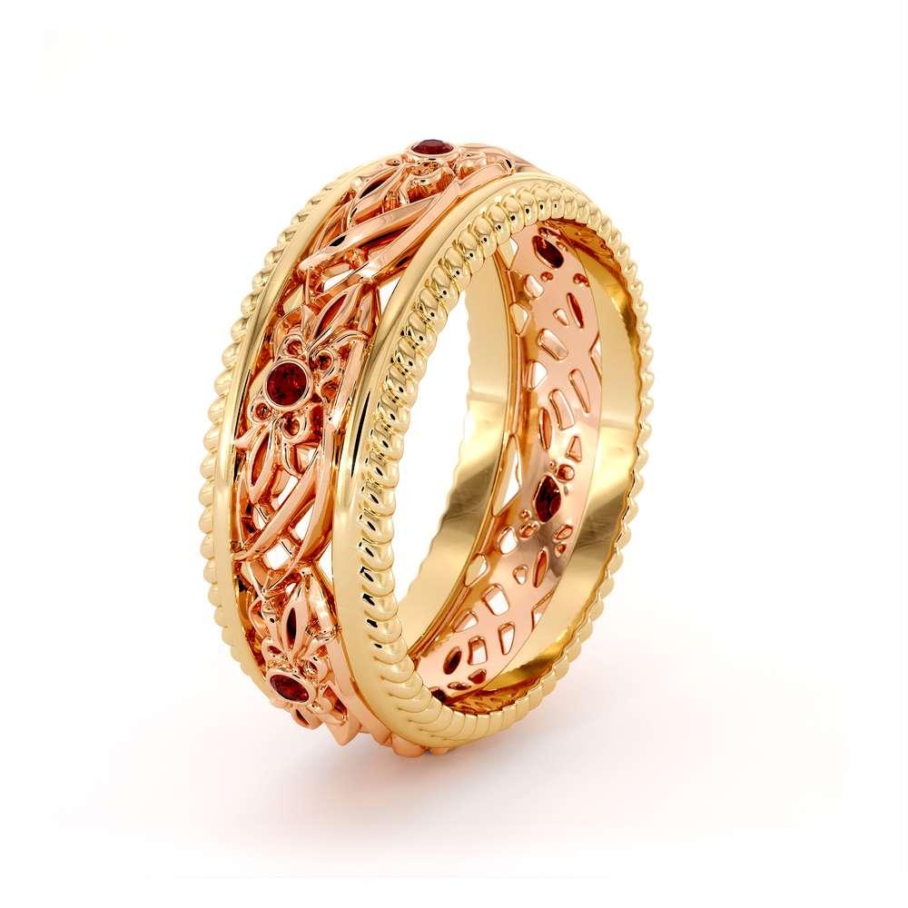 Art Deco Wedding Ring Women Wedding Ring Two Tone Diamond Wedding Band