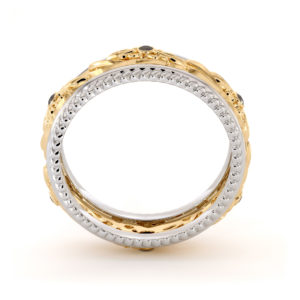 Art Deco Wedding Ring Women Wedding Ring Two Tone Diamonds Wedding Band