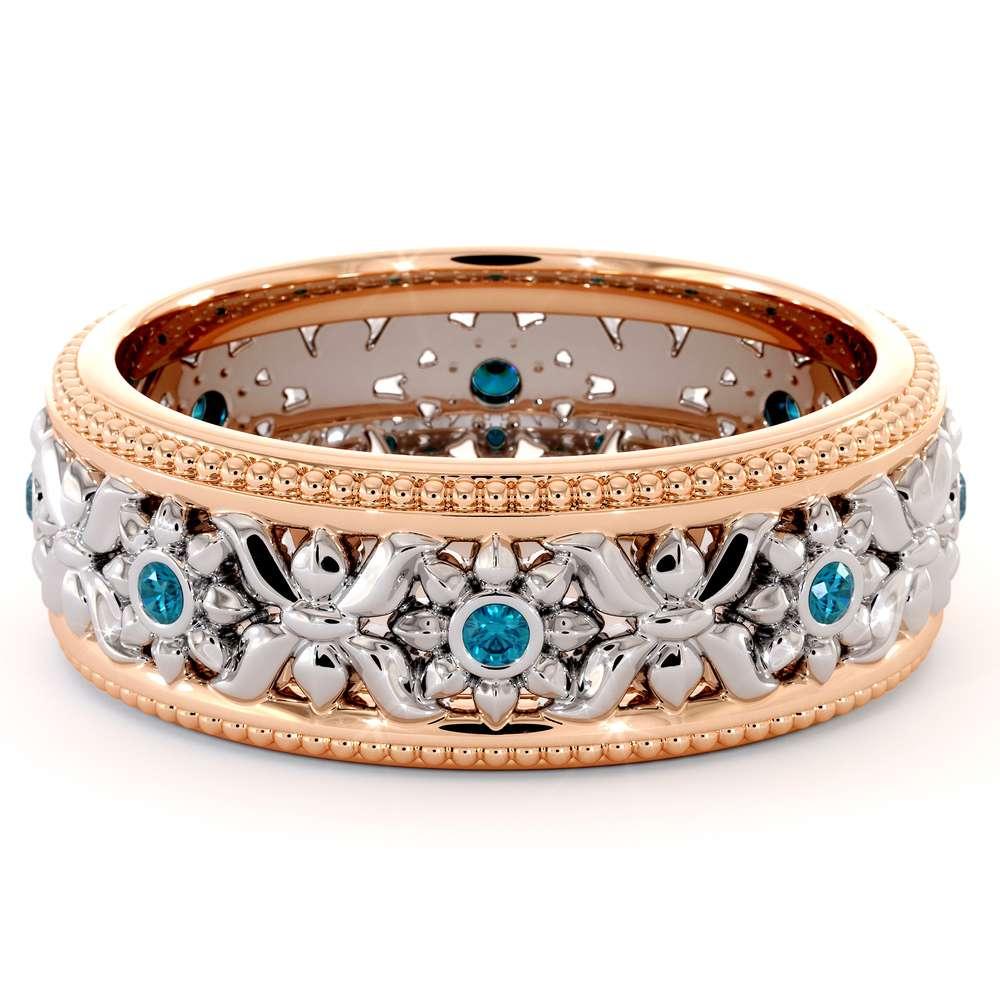 14K Two Tone Wedding Ring Blue Diamonds Wedding Band Women's Rose & White Gold Wedding Band