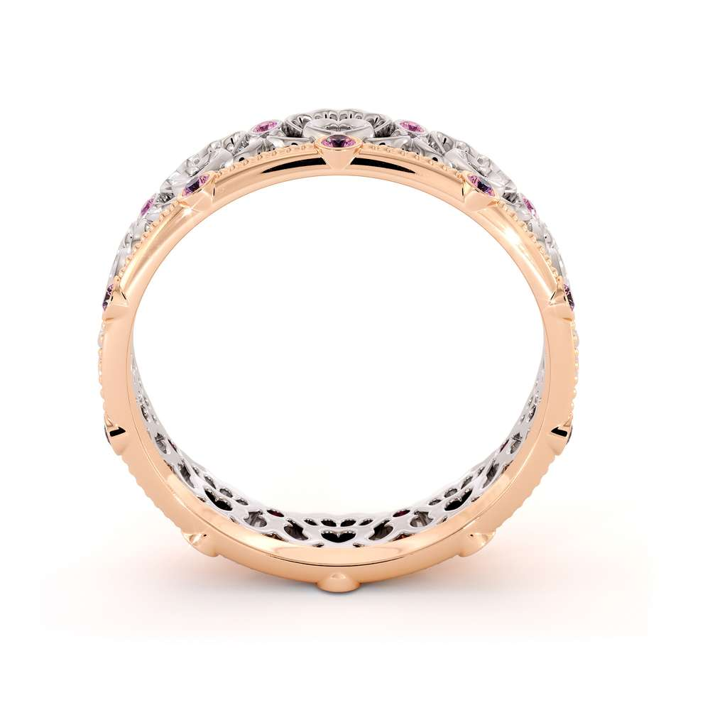 Unique Heart Wedding Ring Wedding Band 14K Two Tone Gold Ring Pink Sapphire Band