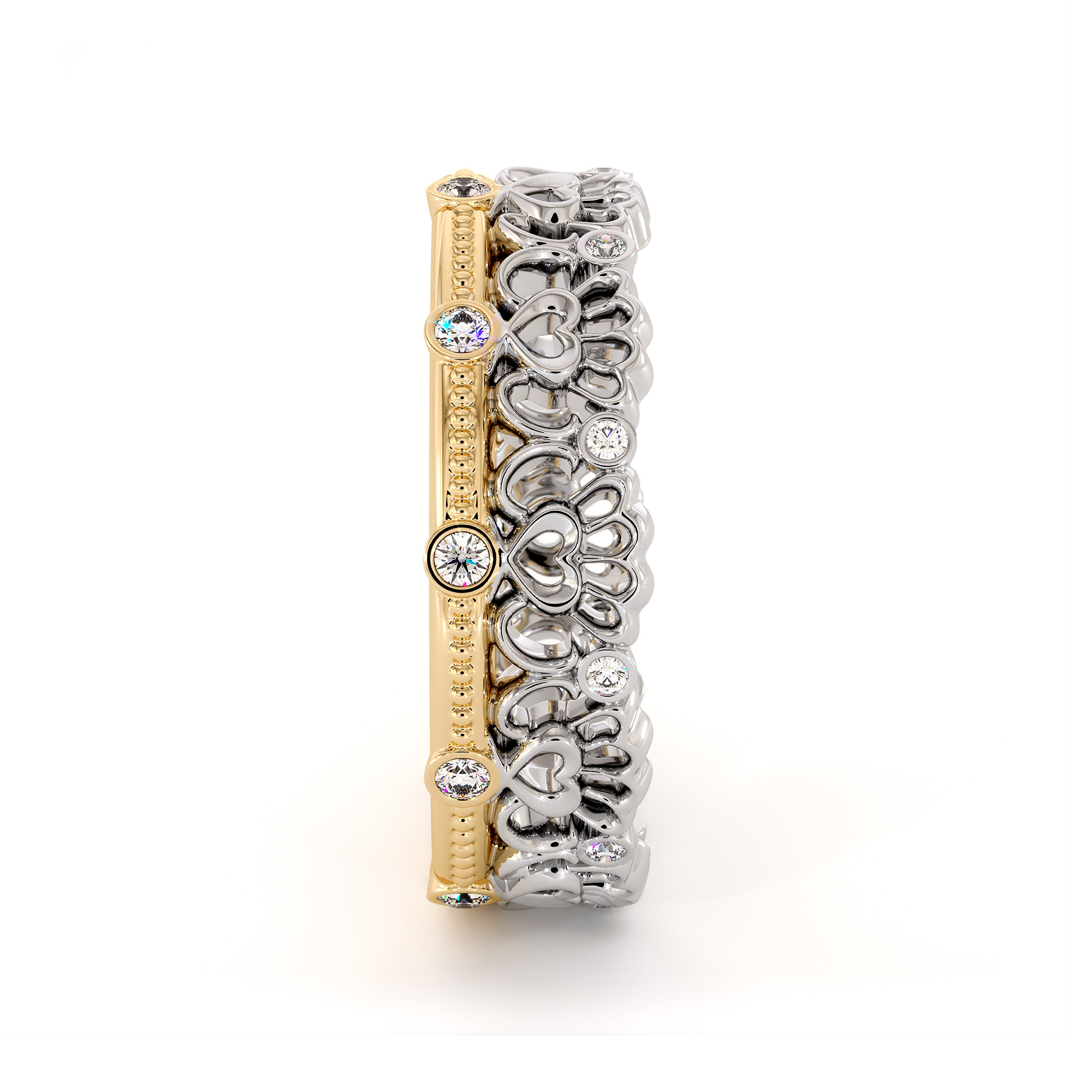 Unique Heart Wedding Band Wedding Band 14K Two Tone Gold Ring Natural Diamonds Band