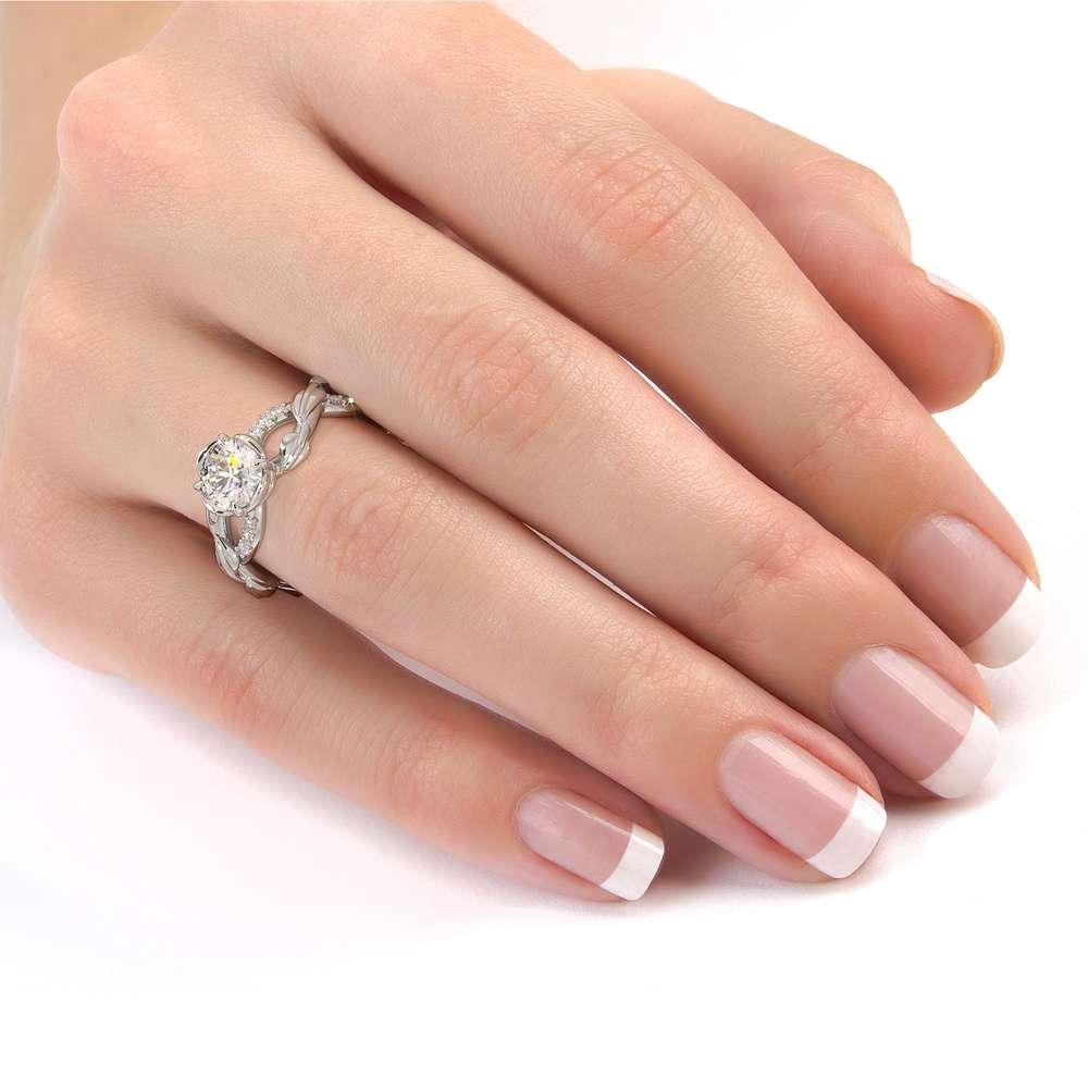 CVD Diamond Half Eternity Ring Leaf Engagement Ring Lab Grown Diamond Ring