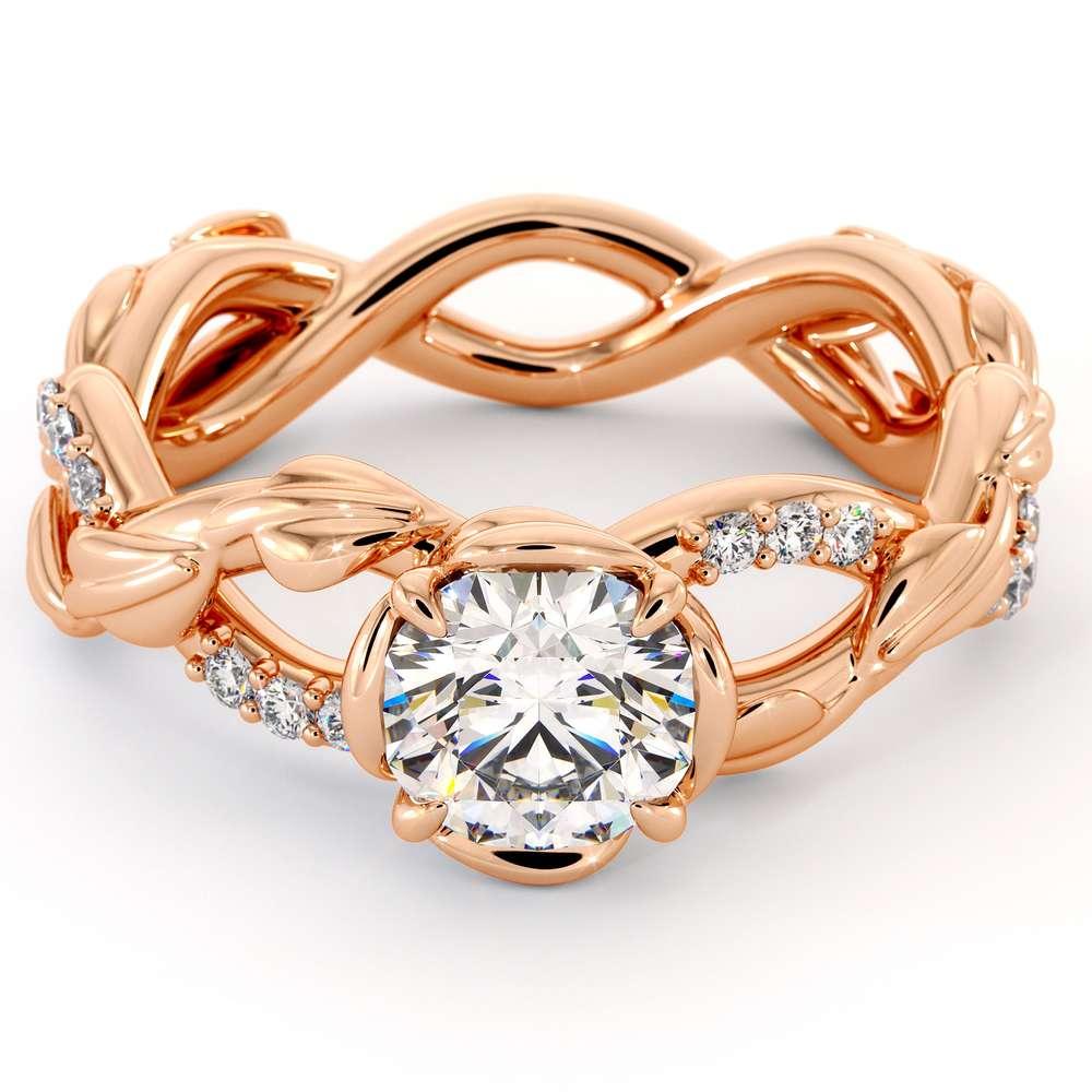 CVD Diamond Half Eternity Ring Leaf Engagement Ring Lab Grown Diamonds Ring