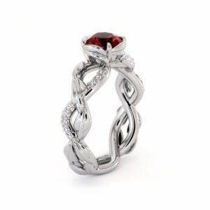 Ruby Half Eternity Ring Leaf Engagement Ring 1.00 Carat Ruby Wedding Ring