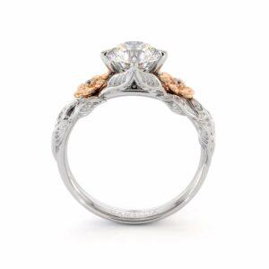 Moissanite Engagement Ring Unique Flower Ring 14K White & Rose Gold Ring Leaves Engagement Ring