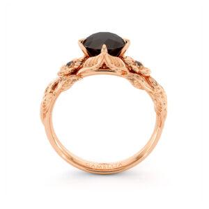 Black Diamond Engagement Ring Rose Gold Leaves Ring Unique Flower Engagement Ring