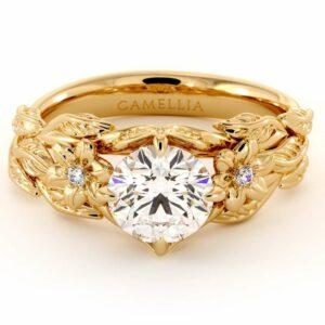 Unique Engagement Ring Moissanite Ring 14K Gold Ring Moissanite Engagement Ring Flower Leaves Engagement Ring