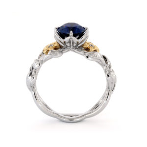 Blue Sapphire Engagement Ring 14K 2 Tone Gold Ring Unique Flower Ring Natural Sapphire Engagement Ring
