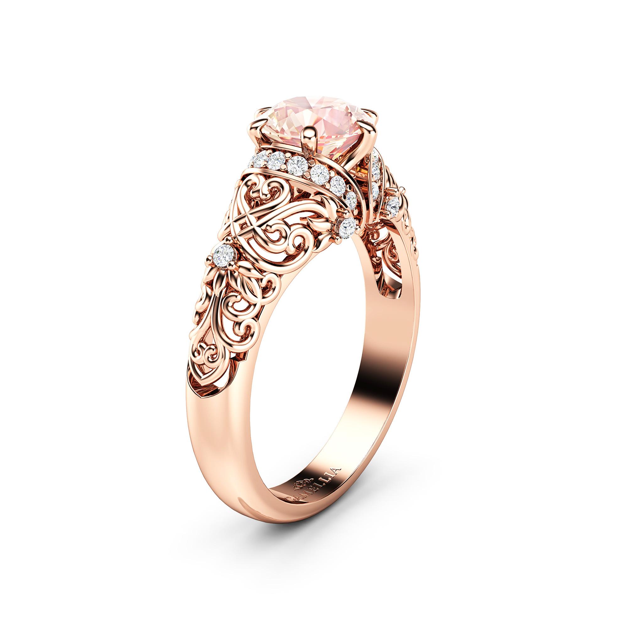 Morganite & Natural Diamonds Engagement Ring 14K Rose Gold Ring 1 Carat Engagement Ring