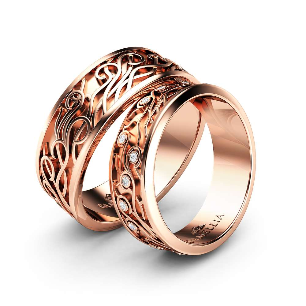 Wedding Band His And Hers-14K Rose Gold Wedding Rings-Couples Matching Band Set