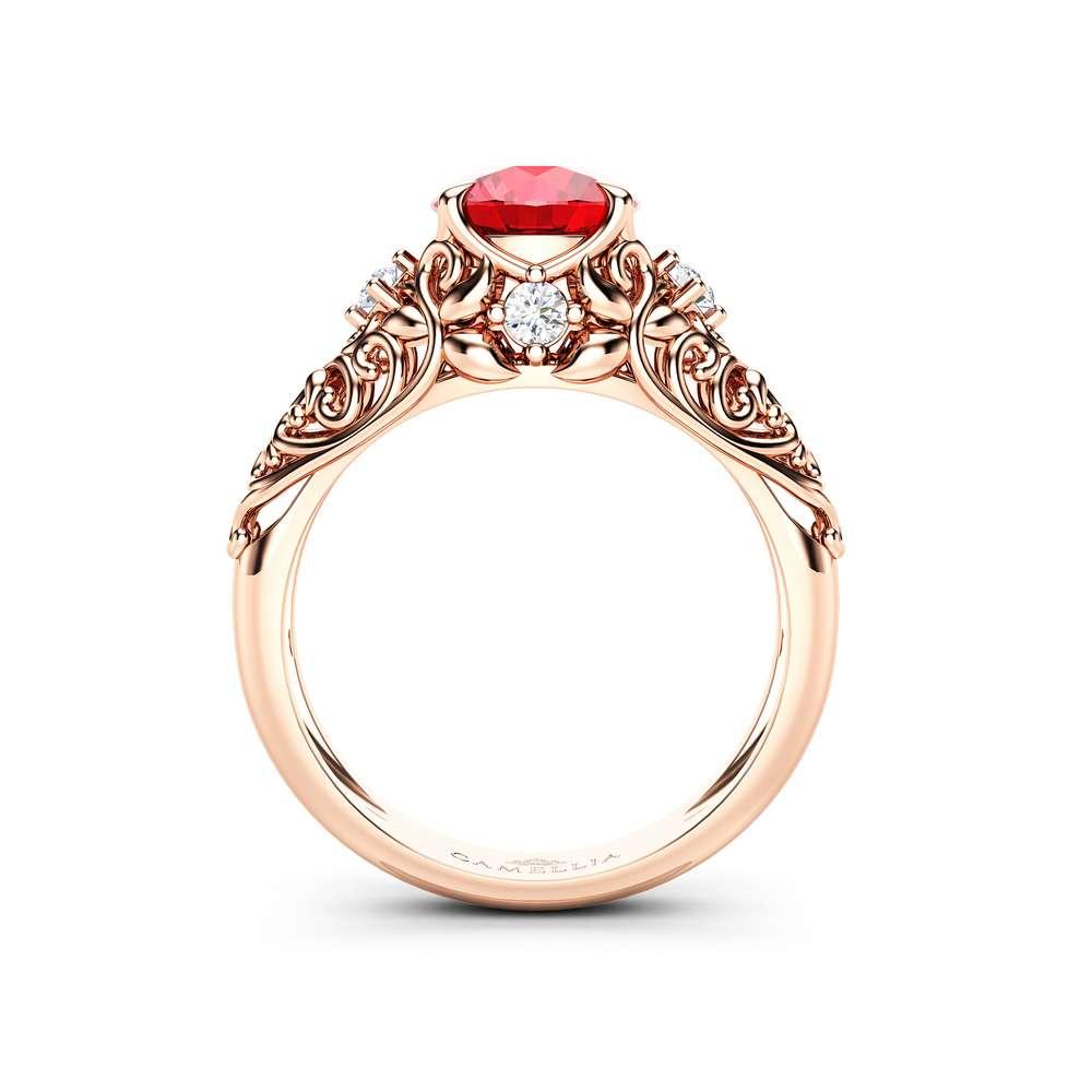 Handmade Ruby Engagement Ring 14K Rose Gold Ruby Ring Gemstone Round Cut Engagement Ring