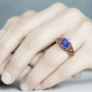 2 Carat Tanzanite Engagement Ring Unique Wedding Ring 14K Rose Gold Ring Art Nouveau Engagement Ring