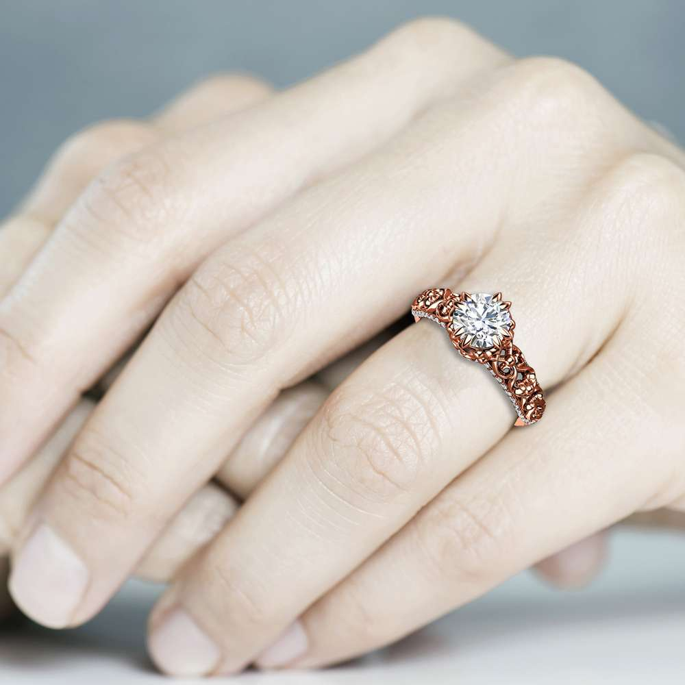 Vintage Forever One Moissanite Engagement Ring 14K Rose Gold Engagement Ring Unique Moissanite Ring