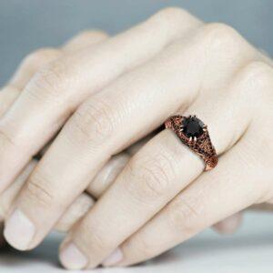 Black Diamond Engagement Ring 1 Ct Round Cut Diamond wedding ring 14K Rose Gold Band