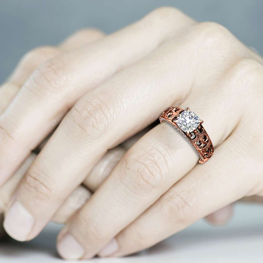 Unique Engagement Ring Cushion 7mm Moissanite Ring 14K Rose Gold Band with Natural Side Diamonds