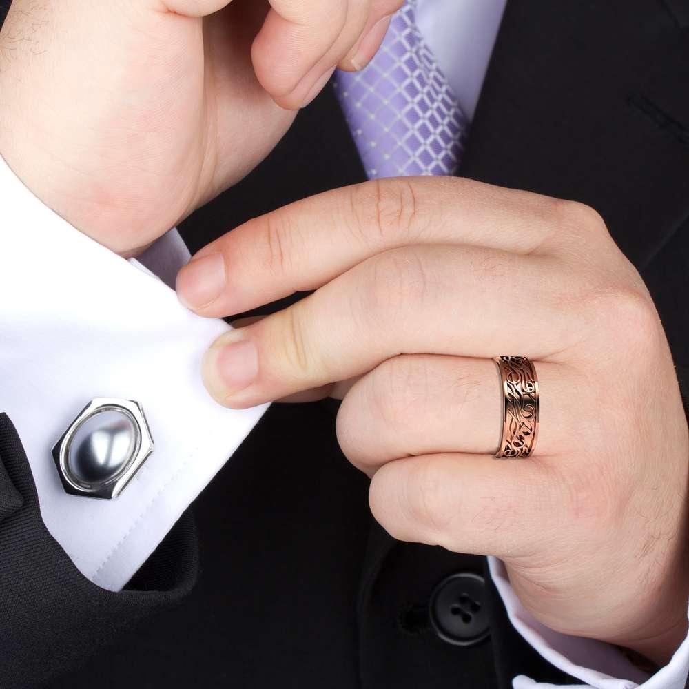 Mens Wedding Band Celtic Men Ring 14K Rose Gold Wedding Band