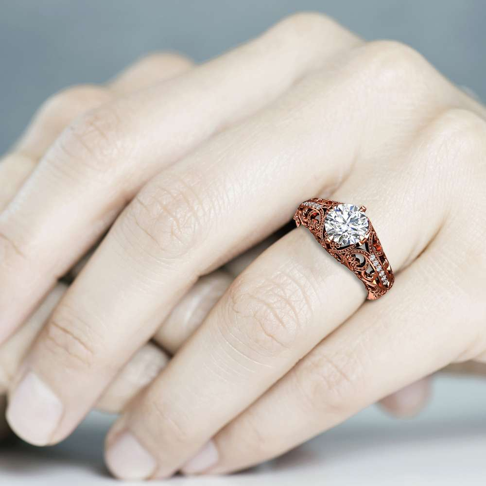 Filigree Art Deco Moissanite Engagement Ring Moissanite Wedding Rings 14K Rose Ring